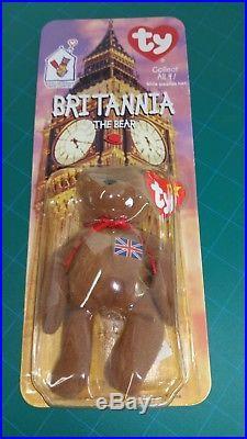 Rare Both Errors Mcdonalds TY Beanie Baby Britannia The Bear New Sealed RARE