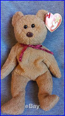 Rare MINT TY Curly Bear Beanie Baby Made in China Errors Both Tags Beanie Babies