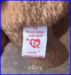 Rare Multiple Error Ty Original Beanie Baby Curly 1996 / 1993