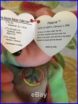 Rare Retired Ty Beanie 1996 Peace Bear Original Collectible All Tag Errors Pvc
