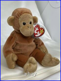 Rare Retired Ty Beanie Baby Bongo The Monkey 1995 Mint P. E Pellets With Errors