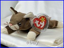 Rare Retired Ty Beanie Baby Pounce The Cat 1997 Mint P. E. Pellets With Errors