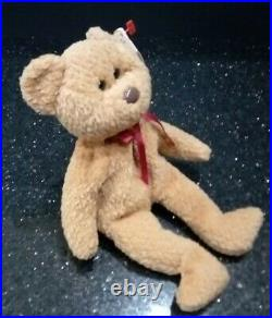 Rare Retired Ty Beanie Baby'curly' The Bear With Many Errors