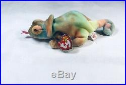 Rare TY Beanie Baby RAINBOW The Chameleon, Tie Die, Errors (Original, 1997)