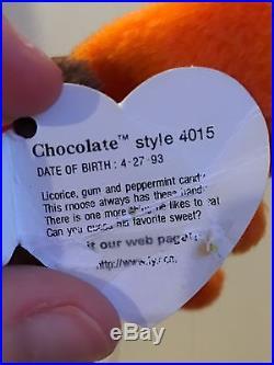 b47780ff676 Rare TY Chocolate the Moose Beanie Baby ORIGINAL 1993 with ERRORS