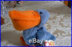 464e9b09ef8 Rare TY Original Beanie Babies Scoop The Pelican Errors-  4107-Retired
