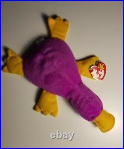 Rare Ty Beanie Baby. Original 1993 Patti The Platypus. Style #4025 Magenta