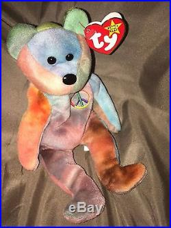 036842b83a5 Rare Ty Beanie Baby Peace Bear Original Collectible with Tag Errors ...