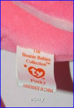 Rare Ty Beanie Baby Pinky Style 4072 Pvc Pellets Swing & Tush Tag Errors