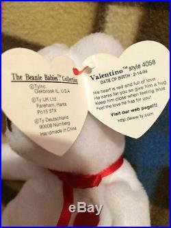 Rare Ty Beanie Baby Valentino Bear 1994 PVC Pellets Style 4058 On Hang Tag