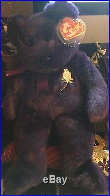 Rare Ty Beanie Original Buddy Baby 1998 Princess Diana Plush Bear 14 White Rose