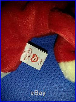 Rare Vintage 1995 Snort Ty Beanie Baby Red Bull Plushie With Tag 4002 5