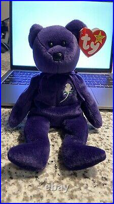 Rare Vintage TY Beanie Baby PRINCESS DIANA The Purple Teddy with MULTIPLE ERRORS
