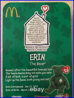 Rare With 1993 Error TY Erin The Bear Beanie Baby Ronald McDonald Charities