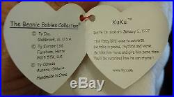 Rare With 7 Errors Vtg 1997 TY Beanie Babies Kuku Stuffed Toy Plush Bird Pink