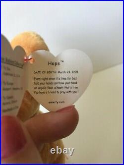 Retired 1999 Ty Beanie Baby HOPE the Praying Bear IMMACULATE, MWMT, & RARE