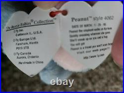 Retired TY Peanut Beanie Baby, 1995, PVC Pellets RARE WITH ERRORS