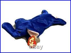 Royal Blue Elephant Beanie Baby Peanut Rare