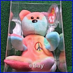 Super RARE PVC Peace Bear 1996 Retired Ty Beanie Baby MWMT Genuine MAJOR Errors
