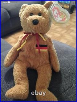 TY 1990 BEANIE BABIES BABY Germania the Bear Retired Rare VGC