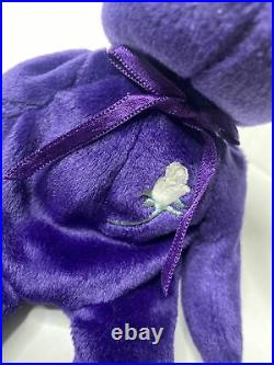 TY 1997 Princess Diana beanie baby purple bear. Rare! Excellent Condition