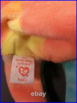 TY BEANIE BABY Rare Retired 1996 Peace Bear With Tag Errors Excellent Used PVC