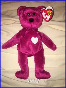 TY BEANIE BABY VALENTINA BEAR WITH TAG ERRORS RARE! No tush stamp