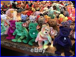 TY BEANIE LOT of 200 BEANIE BABIES/RARE/RETIRED/COLLECTION/AUTHENTICATED