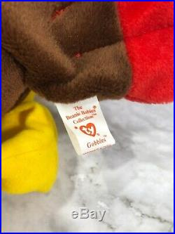 TY Beanie Babies 1996 Gobbles With Swing & Tush Tags Errors, Rare & Collectible