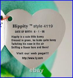 TY Beanie Babies 1996 Hoppity Floppity Hippity (P. V. C. Pellets) (RARE)