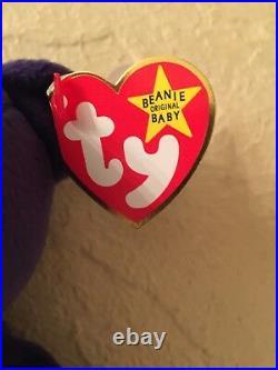 TY Beanie Babies 1997 PRINCESS DIANA Purple Beanie Baby All Tags PE Pellets RARE