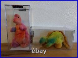 TY Beanie Babies Baby Steg Rex Dinosaur Lot of 2 Authenticated RARE 1st gen tush