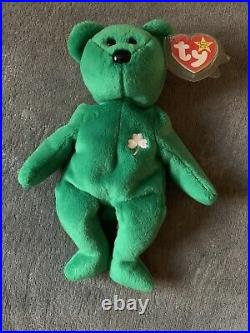 TY Beanie Babies ULTRA RARE and Retired Irish Erin Bear with errors L@@k! TOY