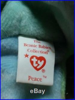 TY Beanie Babies tye dye Peace Bear Retired with Rare ERRORS & tag + Diana n More