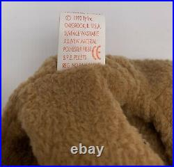 TY Beanie Baby Bear CURLY Extremely Rare With Tag Errors & P. E Pellets
