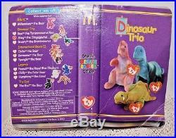TY Beanie Baby Dinosaur Trio Bear STEG BRONTY 2 0UT OF 3 RARE in pkg