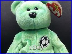 TY Beanie Baby Kicks Green Teddy Bear VERY RARE Retired Collectible TAG ERROR