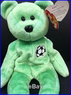 7945113c3a0 TY Beanie Baby Kicks Green Teddy Bear VERY RARE Retired Collectible TAG  ERROR