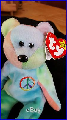 TY Beanie Baby PEACE The Ty-Dyed Bear Authenticated Rare