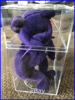 TY Beanie Baby PRINCESS DIANA Purple Teddy Bear, 1997 MINT PVC Pellets RARE