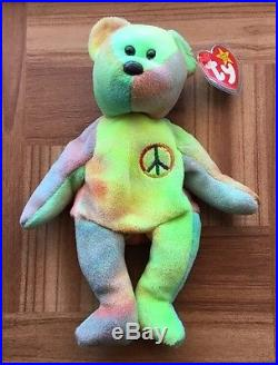 TY Beanie Baby Peace Bear With Tag Errors Rare 1996  2c2ccb80167