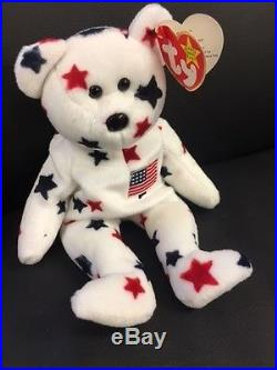 TY Beanie Baby Rare Glory Red, White and Blue American Bear New With TAG ERROR