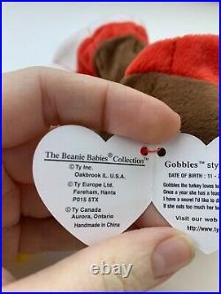 TY Beanie Baby Retired Gobbles Turkey Style 4034 11-27-96 Lot Of Error Very Rare