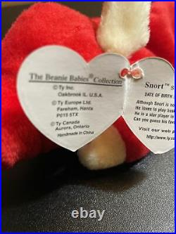 TY Beanie Baby Snort The Bull 1995 Retired Rare Numerous Tag Errors Numeric Date
