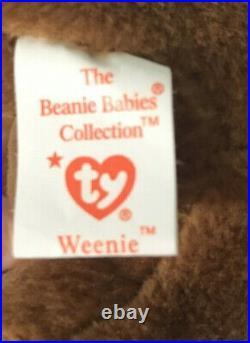 TY Beanie Baby Weenie the Dachshund Dog 1995 PVC TAG ERRORS VERY RARE