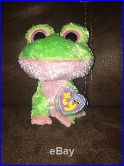 TY Beanie Boo Boos Plush 6 Kiwi Green Frog Rare Purple Tag 2009 No Reserve