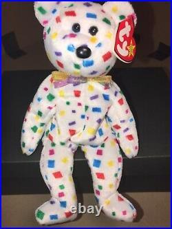 TY Confetti 2k Beanie Baby RARE! Multiple Errors New Years Purple Confetti