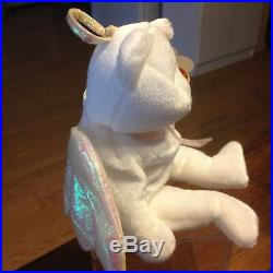 TY Halo Angel Bear Beanie Baby Rare Tush Tag #425 Brown Nose (ERROR) Collector