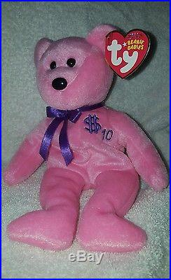 TY Inc BILLIONAIRE BEAR #10 Beanie Baby Signed Mint with tags SIGNED rare