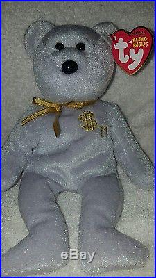 TY Inc BILLIONAIRE BEAR #11 Beanie Baby Signed Mint with tags SIGNED rare